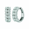 Diamond 2 rows hoop earrings