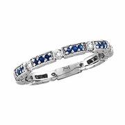 Diamond And Blue Sapphire Ring Band