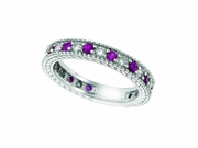 Diamond and Pink Sapphire Ring Band