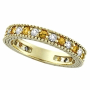 Diamond and Yellow Sapphire Ring Band