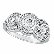 Diamond Bezel 3 Three Stone Ring