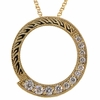 Diamond circle necklace, 6 different diamond sizes, ranging from 0.015 ct to 0.065 ct.