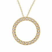 Diamond Circle Necklace Pendant 14K Yellow Gold