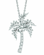 Diamond coconut tree necklace