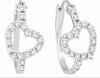 Diamond Heart Hoop Earrings White Gold
