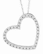 Diamond Heart Pendant Necklace White Gold