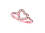 Diamond Heart Ring Pink Gold