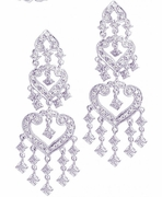 Diamond hearts chandelier earrings