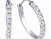 Diamond Hoop Earrings, 14K White Gold