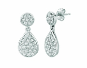 Diamond pear & round shape earrings