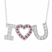 "Diamond & Pink Sapphire ""I Love You"" Pendant Necklace"