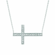 Diamond sideway cross necklace
