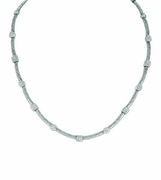 Diamond square & oval necklace