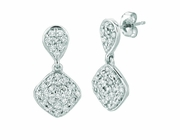 Diamond square & pear shape earrings