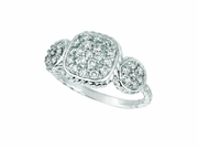 Diamond square& round shape ring