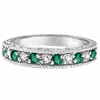 Emerald And Diamond Ring, 14K White Gold Stackable