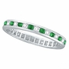 Emerald & Diamond Channel Set ETERNITY Band