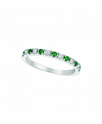 Emerald & Diamond  Stackable Ring