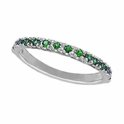 Emerald Stackable Ring, 14K White Gold
