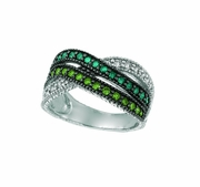 Green , blue & white diamond ring
