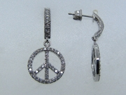 Peace sign diamond earrings