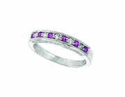 Pink Sapphire And Diamond Ring, 14K White Gold Stackable