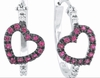 Pink Sapphire & Diamond Earrings White Gold