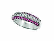 Pink Sapphire & Diamond Fashion Ring, 14K White Gold