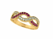 Pink sapphire & diamond twisted ring