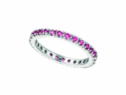 Pink Sapphire Eternity Guard Ring, 14K White Gold