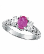 Pink Sapphire Three Stone Diamond Engagement Ring