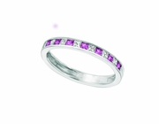 Princess cut diamond & pink sapphire band