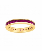 Princess cut ruby eternity band