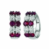 Ruby & diamond 2 rows hoop earrings