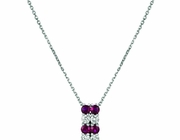 Ruby & diamond 2 rows necklace