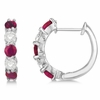 Ruby & diamond hoop earrings