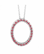 Ruby Oval Pendant Necklace White Gold