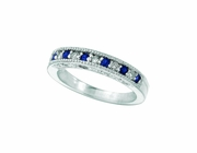 Sapphire And Diamond Ring, 14K White Gold Stackable