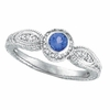 Sapphire Bezel Ring with Diamond