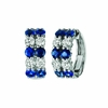 Sapphire & diamond 2 rows hoop earrings