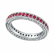 Three Sided Pink Sapphire & Diamond Eternity Band Ring