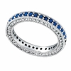 Three Sided Sapphire & Diamond Eternity Band Ring