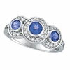 Three Stone Bezel Tanzanite and Diamond Ring