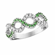 Tsavorite and Diamond Swirl Ring