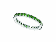 Tsavorite (Savorite) Eternity Guard Ring, 14K White Gold