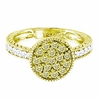 Yellow & white diamond round ring