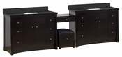 116.45-in. W Floor Mount Distressed Antique Walnut Vanity Set For 1 Hole Drilling Black Galaxy Top White UM Sink
