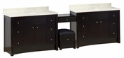 116.45-in. W Floor Mount Distressed Antique Walnut Vanity Set For 3H4-in. Drilling Beige Top White UM Sink