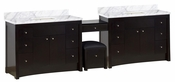 116.45-in. W Floor Mount Distressed Antique Walnut Vanity Set For 3H4-in. Drilling Bianca Carara Top Biscuit UM Sink