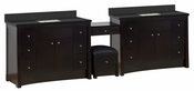 American Imaginations 116.45-in. W Floor Mount Distressed Antique Walnut Vanity Set For 3H4-in. Drilling Black Galaxy Top Biscuit UM Sink